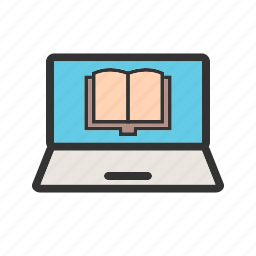 book, education, laptop, learning, notebook, reading, student icon