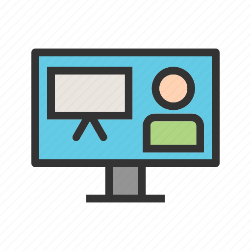 computer, conference, online, presentation, technology, training, video icon
