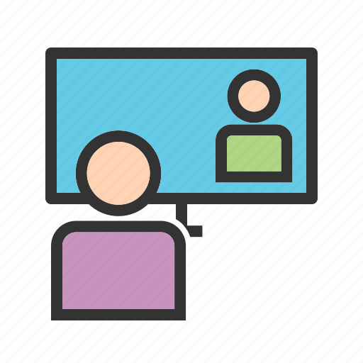 laptop, learning, lecture, online, teacher, web, webinar icon