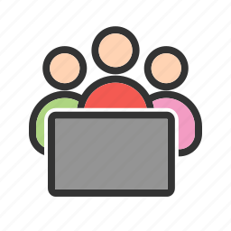 computer, laptop, students, study, studying, three, university icon