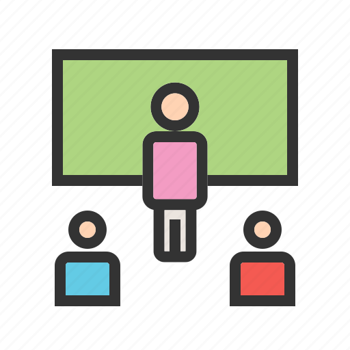 classroom, college, computer, course, online, students, study icon