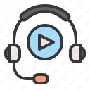 e learning, headphone, learning, play icon
