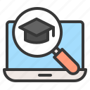 e learning, graduation cap, laptop, learning, search icon