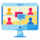 conference, discussion, group, meeting, online, online class, video call icon