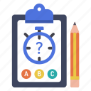 assessment, e-learning, education, exam, quiz, test, timer icon