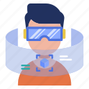 device, e-learning, gadget, glasses, studying, virtual reality, vr icon