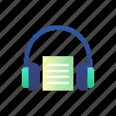 audio book, audiobook, e-learning, education, headphones, knowledge icon