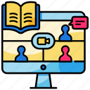 distance, group, learning, online class, session, study, webinar icon