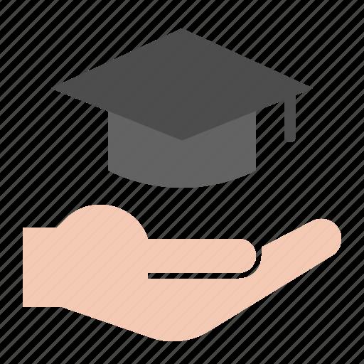 e learning, education, graduation cap, hand, learning icon