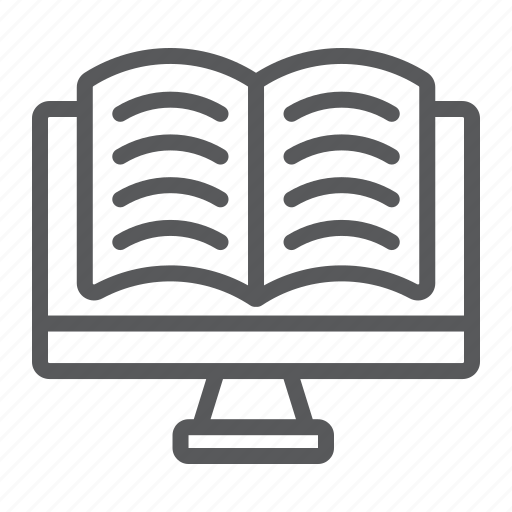 book, e, education, learning, monitor, online, reading icon