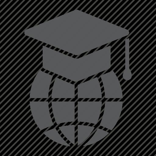 cap, e, education, global, graduation, learning, online icon