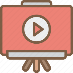 course, distance learning, e learning, education, online, presentation, video icon
