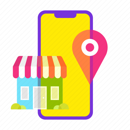 ecommerce, location, mobile shop, online shopping, shop, shopping, smartphone icon