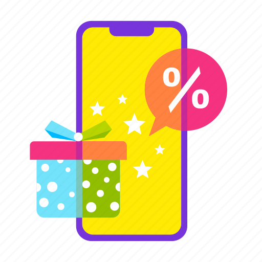 gift, iphone, mobile shop, offer, online shopping, sale, smartphone icon