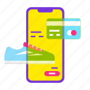 card, cart, mobile shop, online shopping, sale, shoe, smartphone icon