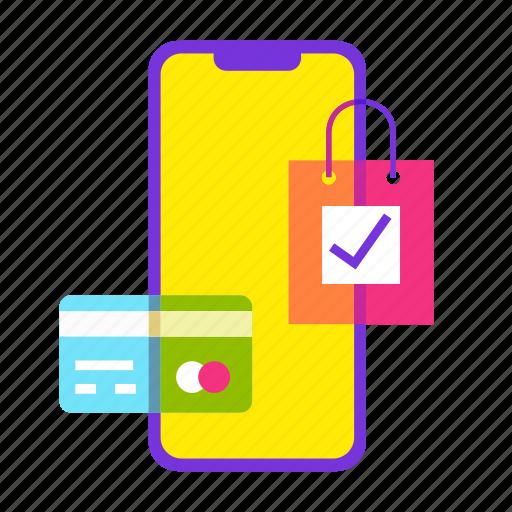 bag, card, cart, mobile shop, online shopping, sale, shopping icon