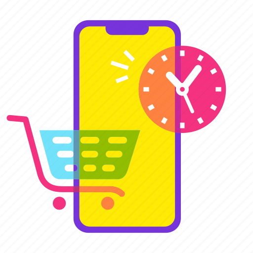cart, ecommerce, offer, online shopping, sale, shopping, time icon