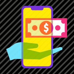 dollar, ecommerce, money, online shopping, sale, savings, smartphone icon