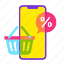 cart, discount, mobile shop, offer, online shopping, sale, shopping icon