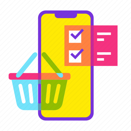 cart, ecommerce, list, online shopping, sale, shopping, smartphone icon
