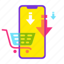 buy, cart, ecommerce, online shopping, sale, shopping, smartphone icon