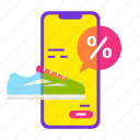 cart, mobile shop, online shopping, sale, shoe, smartphone icon