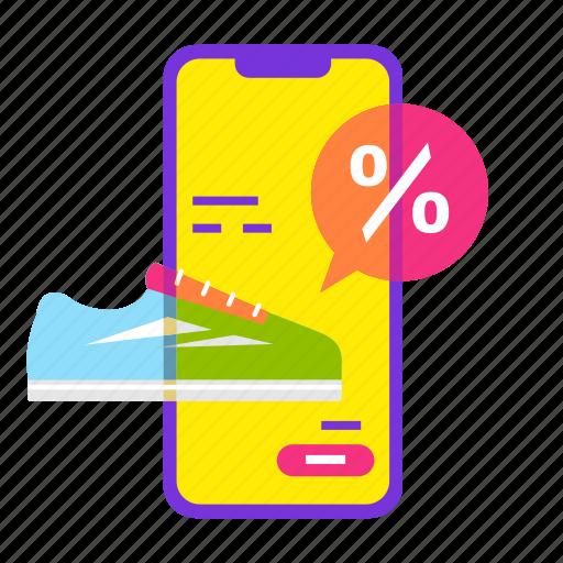cart, mobile shop, online shopping, sale, shoe, smartphone icon