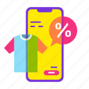 cloth, mobile shop, online shopping, sale, shopping, smartphone, t shirt icon