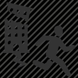building, earthquake, escape, quake, run, survive icon