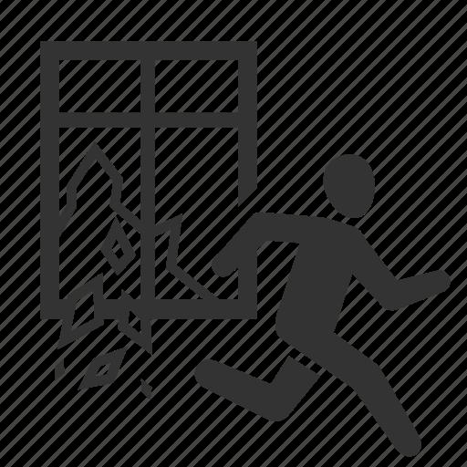 away, earthquake, escape, glass, run, survive, window icon