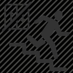 earthquake, escape, exit, fire escape, run, safe, survive icon