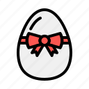 boiled, brakfast, decorate, easter, egg, food, ribbon icon