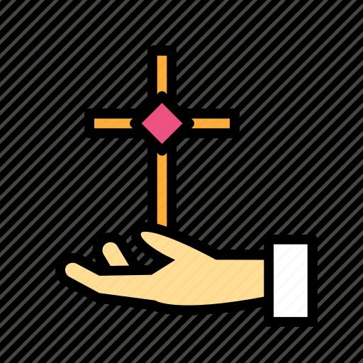 cross, crucifixion, easter, holding, sacrifice icon
