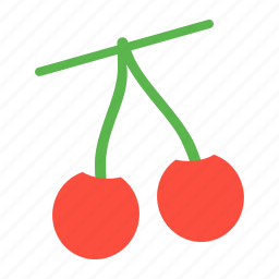 cherries, cherry, easter, fruit, spring icon