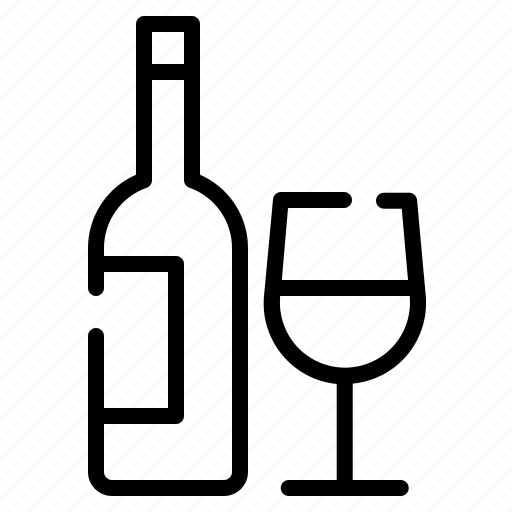 alcohole, bottle, drink, glass, wine icon