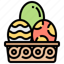 basket, decoration, easter, egg, festival icon