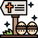 road, sign, easter, eggs, directional, signs