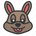 animal, bunny face, cute, easter, rabbit face icon