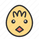 animal, chick, cute, easter, egg, face icon