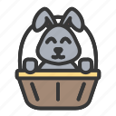 animal, basket, bunny, cute, easter, rabbit icon