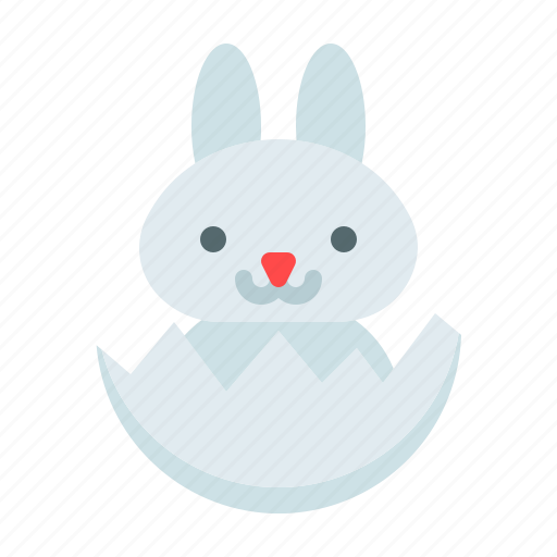 baby bunny, crack egg, easter, egg, happy easter, holidays, spring season icon