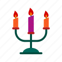 candle, decoration, fire, lamp, light, stand icon