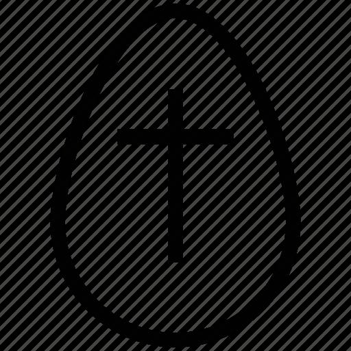 cross on egg, cross sign, easter, easter egg, egg, paschal egg icon