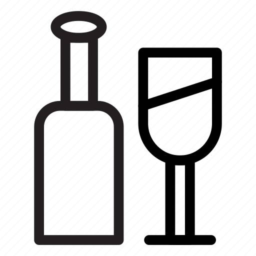 alcohol, bottle, glass, wine icon