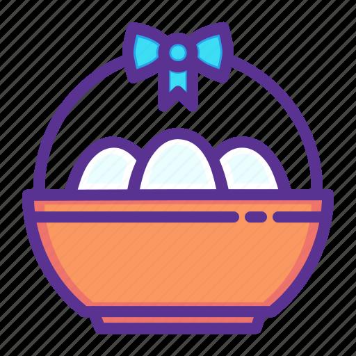 basket, bowl, decoration, easter, egg, eggs, ribbon icon