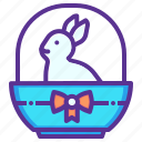 basket, bow, bunny, easter, gift, rabbit, ribbon