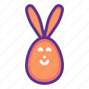 bunny, decorated, ears, easter, egg, paschal, rabbit icon
