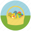 coloured eggs, easter, egg basket icon