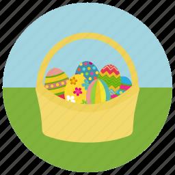 coloured eggs, easter, egg basket icon