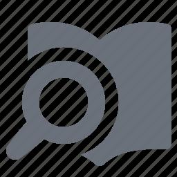 e-book, ebook, pika, reading, search book, simple icon